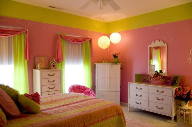 impresive-green-and-pink-girls-bedroom